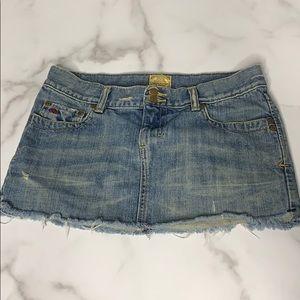 A & F Blue Distressed Denim Mini Skirt D3 0183